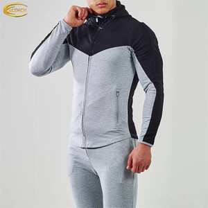 Ecoach OEM Wholesale Colorblock Triblend Sports Gym 100% Cotton Fleece Custom Fitted Skinny Mens Tracksuit