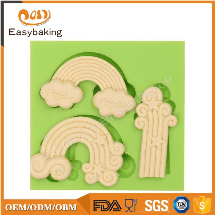 ES-4608 Cartoon Theme Rainbow Shape Silicone Fondant Cake Decorating Mold