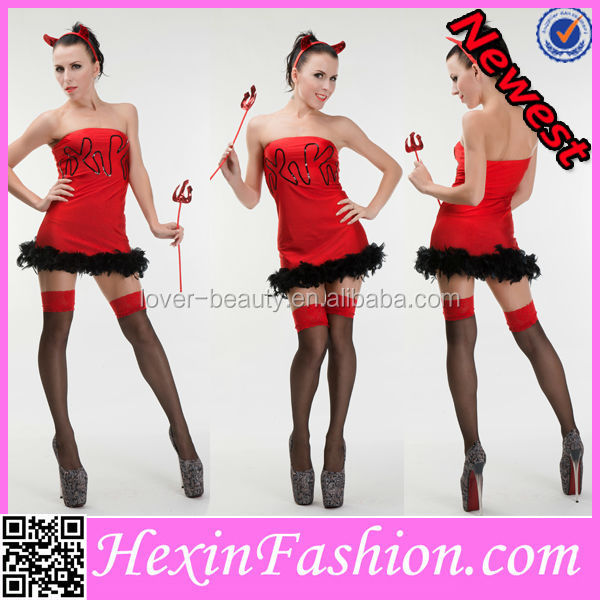 3PCS Burlesque Jagged Design Red Sexy Cheap Devil Costume