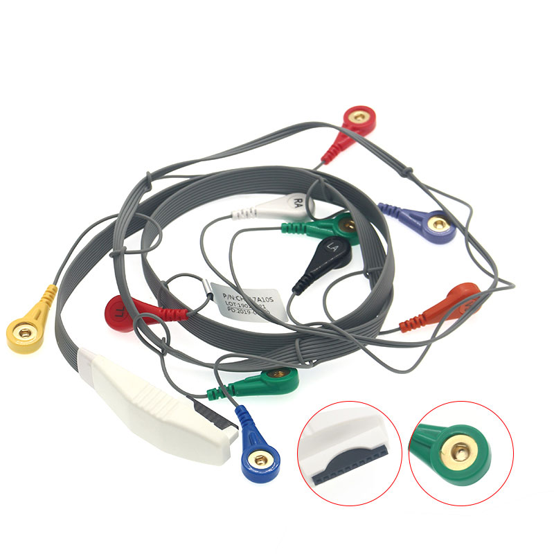 Mortara holter cable with integrated 10 leadwires,snap,IEC/AHA