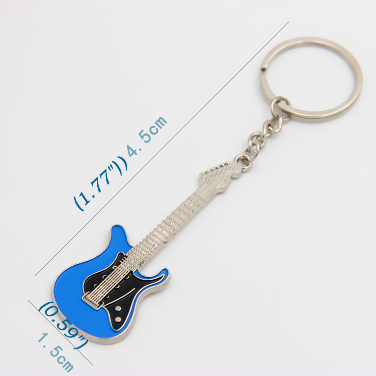 MOQ 90PCS Creative Guitar Keychain Music Festival Jewelry Gift Portable Guitar Keyring Buckle Key Ring Accessories Free Shipping