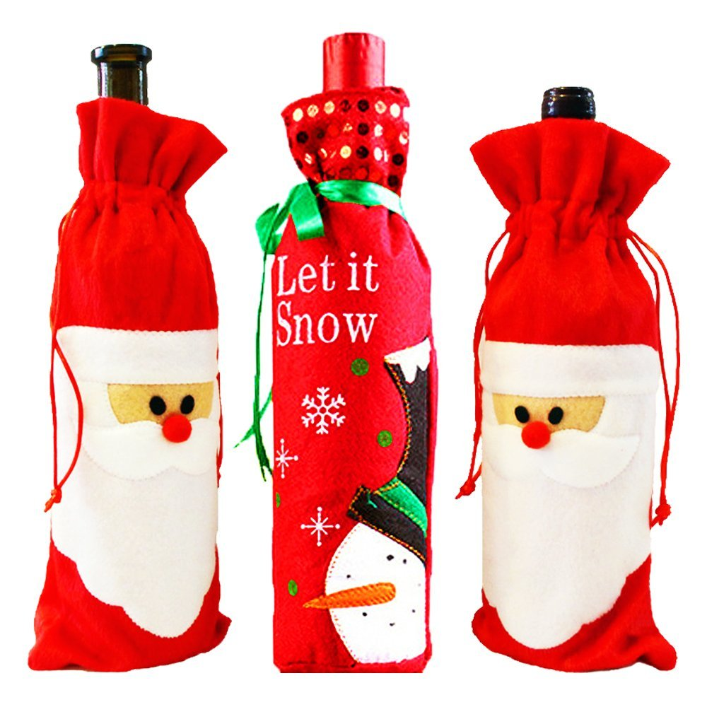 Buy MS.CLEO Christmas Wine Gift Bags-Drawstring Santa Snowman Red ...