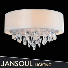 Big white cloth finish lamp with crystal ceiling light in book room illumination
