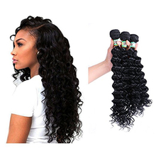 Natural Black Color 3 Bundles Synthetic Human Hair Mixed Deep Wave Hair Extensions Weft Weave