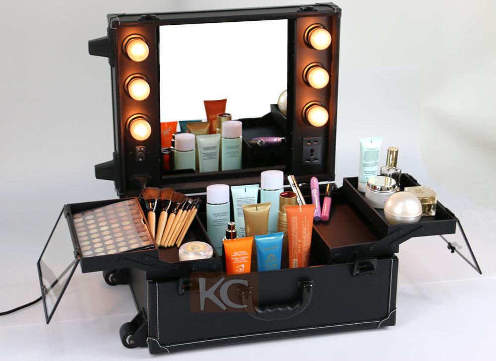 Profelssional Makeup Beauty Lighting Rolling Travel Case