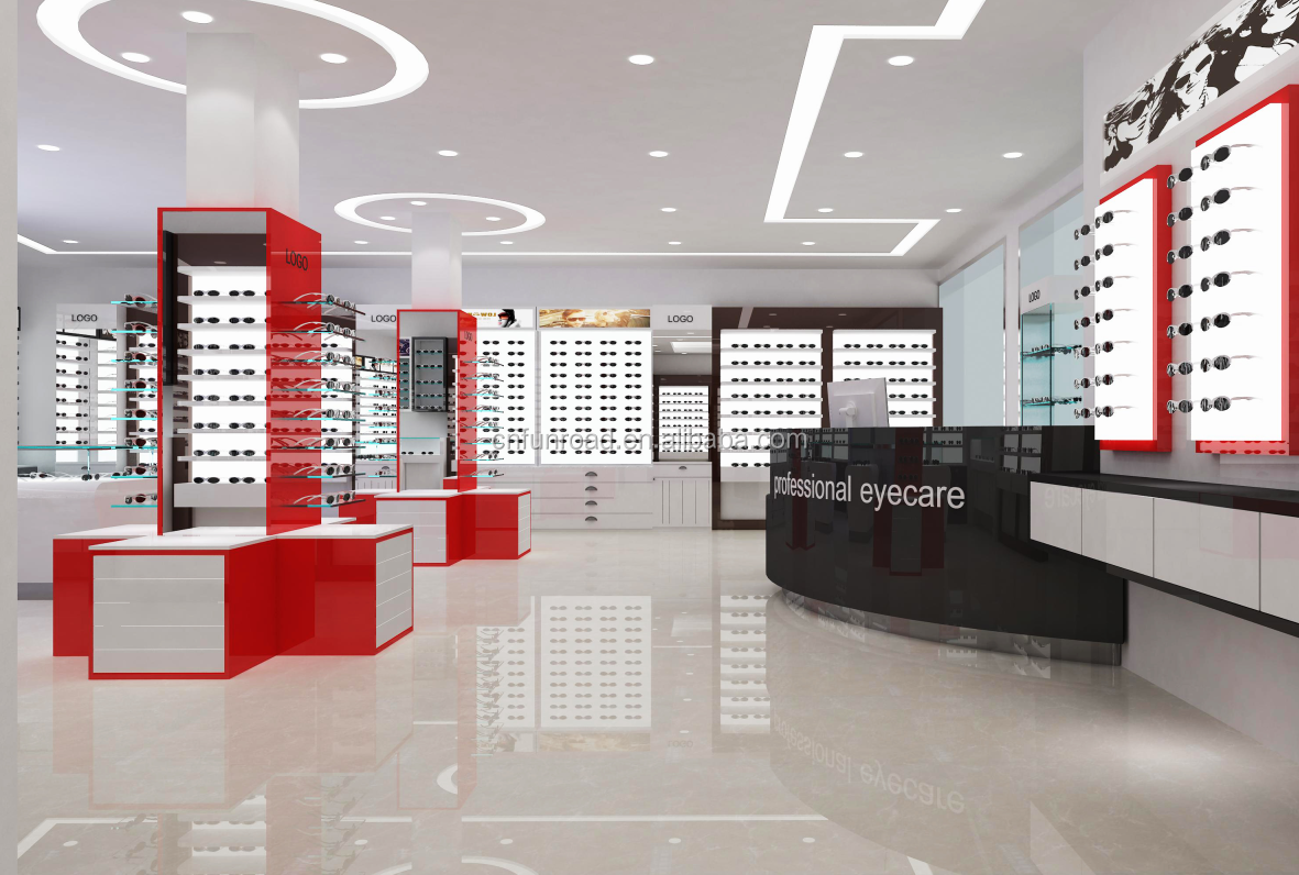 Factory sale optical shop decoration wooden sunglasses display shelf