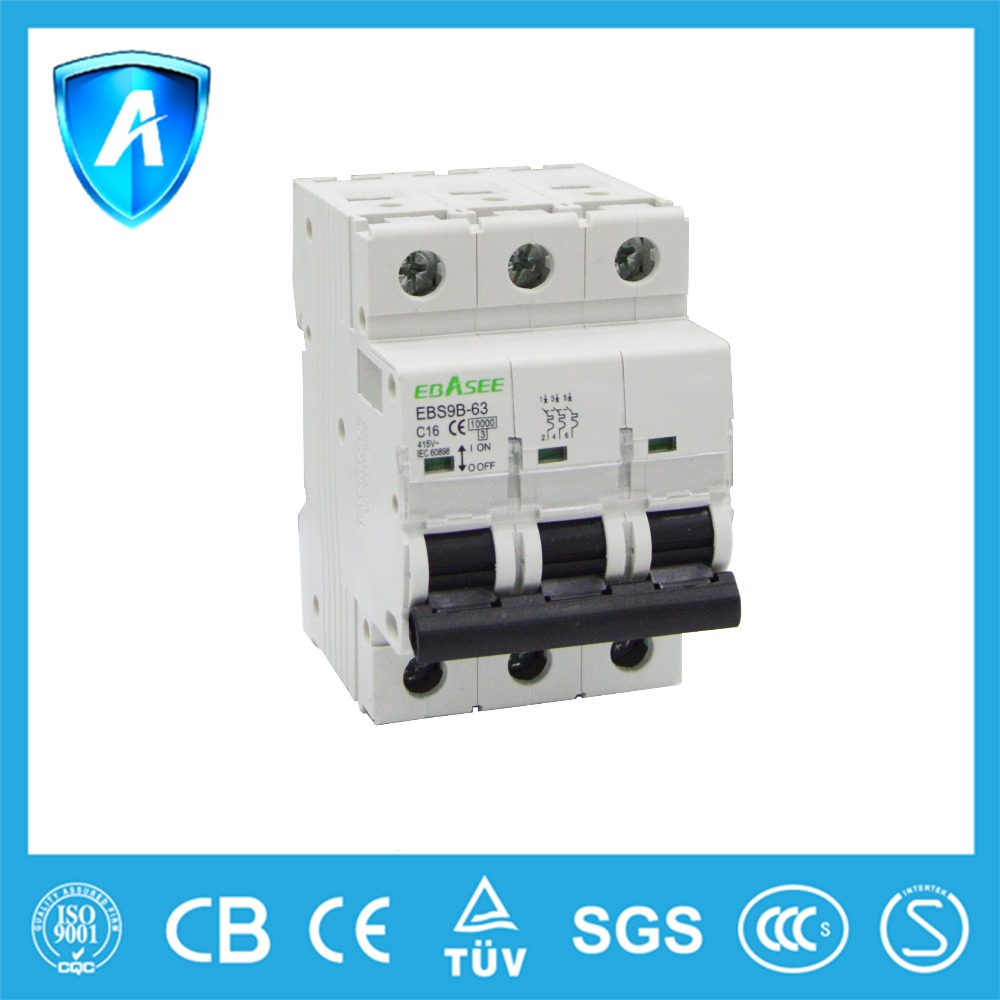 Best quality AC curve C type 1pole electrical MCB 16 amp mini circuit breaker