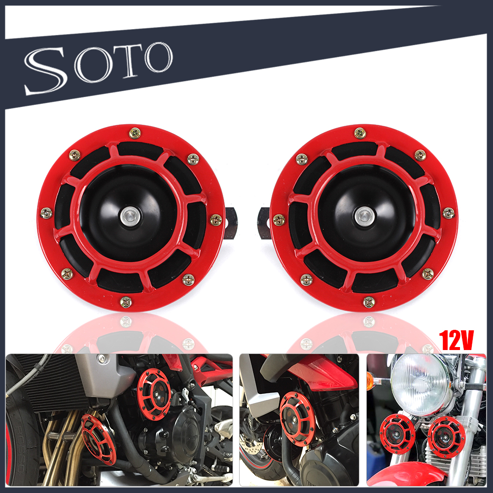 12V 11DB Universal Red Grille Mount Super Tone Loud Compact Dual Tone Electric <strong>Motorcycle</strong> &Car Air Blast Tone Horn KIT