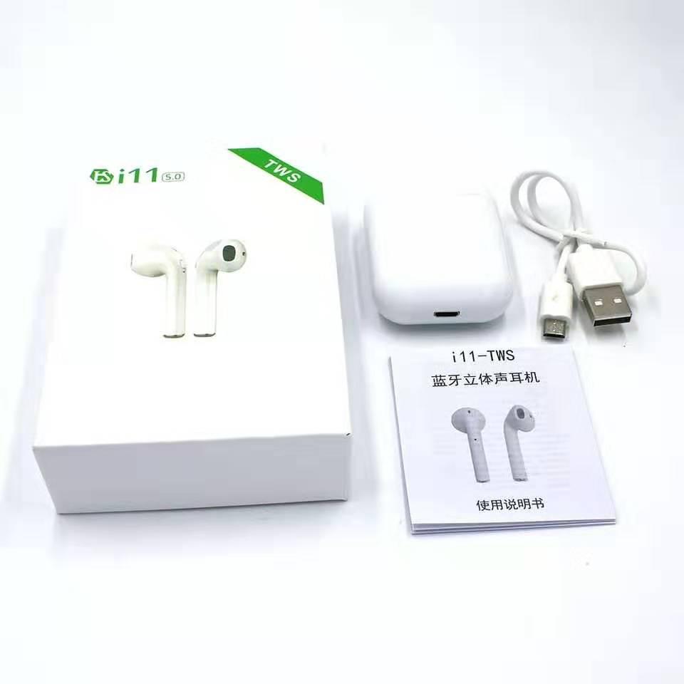 Alibaba.com / Dual talking i11 twins wireless headphone stereo sport wireless headphone with charging box bulk wireless headphone