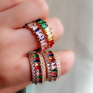 2019 hot sale fashion gold rainbow ring