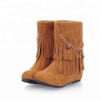 Elegant Ladies Footwear Tassels Flat Ankle Boots Women Shoes 2018