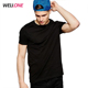 Wellone no brand custom printing logo 100% pima cotton cheap blank plain basic causal men black t-shirt short sleeve