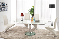 Round Table White Tempered Glass Round Extendable Dining Table Furniture