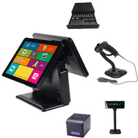 China POS Manufacturer 15 inch ODM 4G RAM 64G SSD Touch Cash Register POS System Dual Screen For Casual Dining