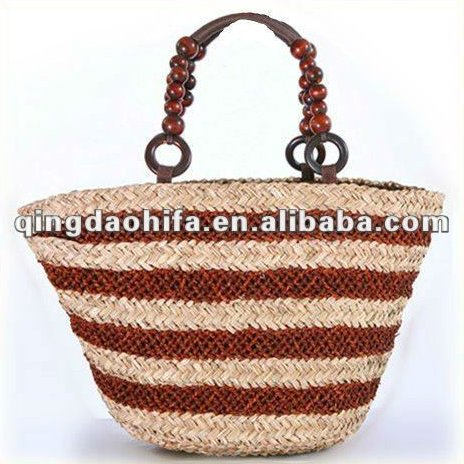 Large Straw Woven Beaded Beach Shopper Tote Bag