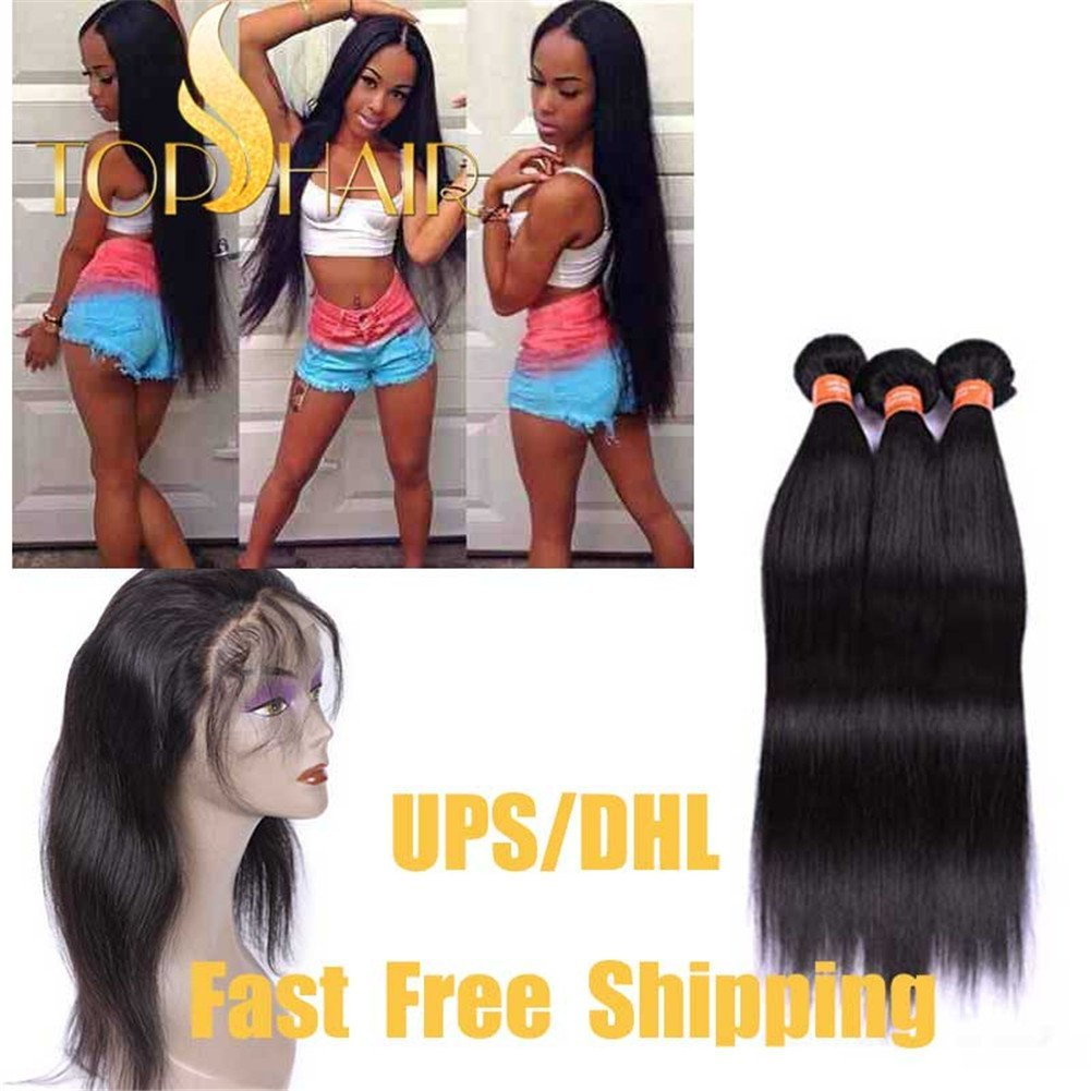 "Top Hair 360 Lace Frontal Band Closure Straight Wave With Peruvian Virgin Human Hair Bundles 22.5""x4""x2"" Free Style 360 Full Lace Frontal Band With Baby Hair Natural Hairline(18""20""22""+18"")"