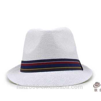 9bcf5046 Custom logo band mens white panama cheap paper fedora flet hat ecuador  wholesale