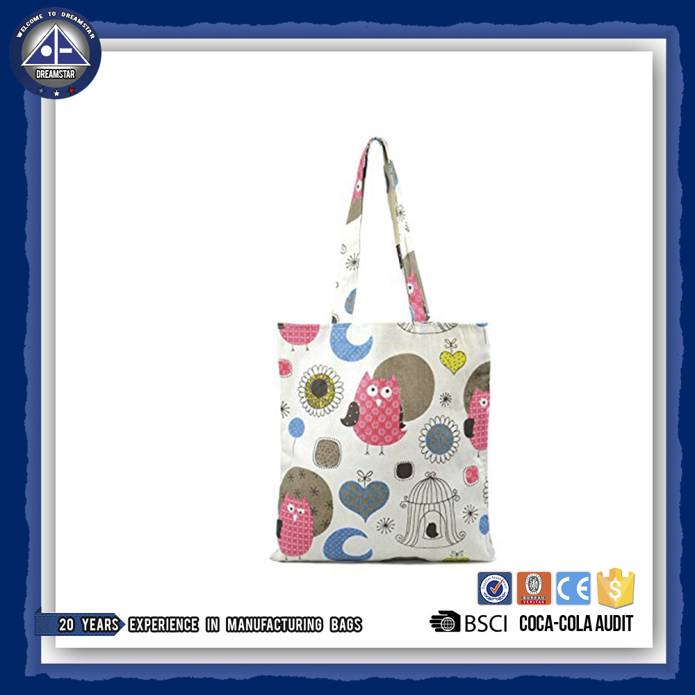 Cute Pink Owl Pure Cotton Canvas Tote Bag