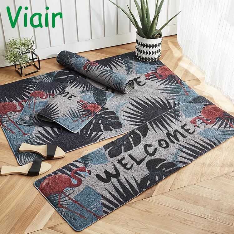 Household oil and dustproof washable mat door kitchen mat green plant anti slip mats for wholesale door mats custom printed