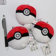 Anime Pocket Monster Pokemon Ball Plush Toy Doll with Ring Soft Stuffed Doll Toys Gift for