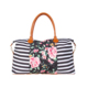 New Design Women Canvas Floral Striped Travel Bag