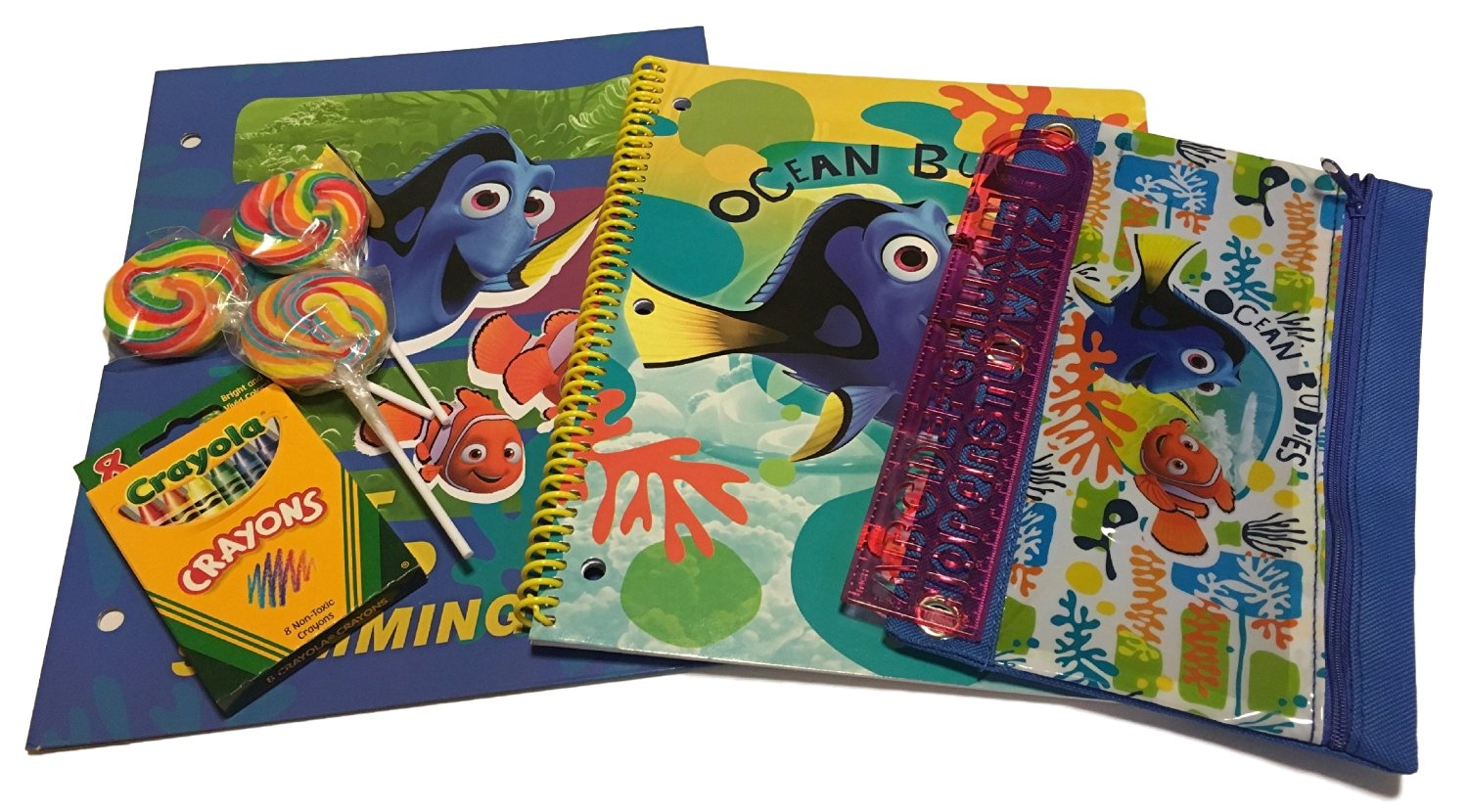 Disney Pixar Finding Dory School Supplies Set - 6 pcs - (Folder - Composition Book - Pencil Bag - Crayola Coloring Set - Ruler - Lollipops)