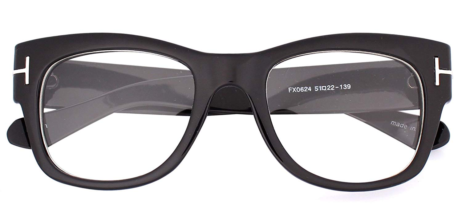 45a8f64c565 Get Quotations · Oversized Square Thick Horn Rimmed Clear Lens Eye Glasses  Frame Non-prescription