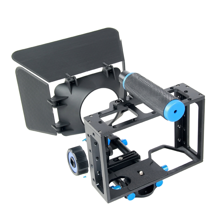 YELANGU DSLR Camera Cage Kit with Matte Box and Follow Focus for Nikon Pent Video ax Canon 5D Mark II