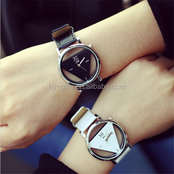 hollow korean couple watch leather pair black white couple watch