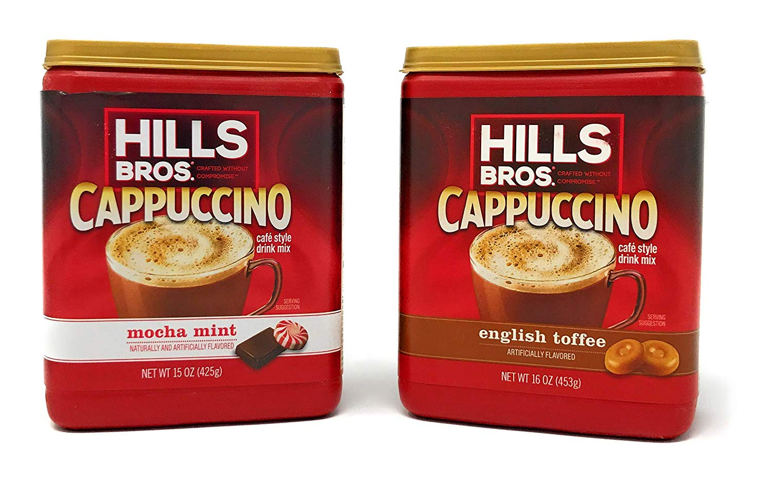 Hills Bros. Instant Cappuccino Mix Bundle | Mocha Mint 15oz. & English Toffee 16 oz. | Instant Flavored Coffee | Café Style Drink Mix