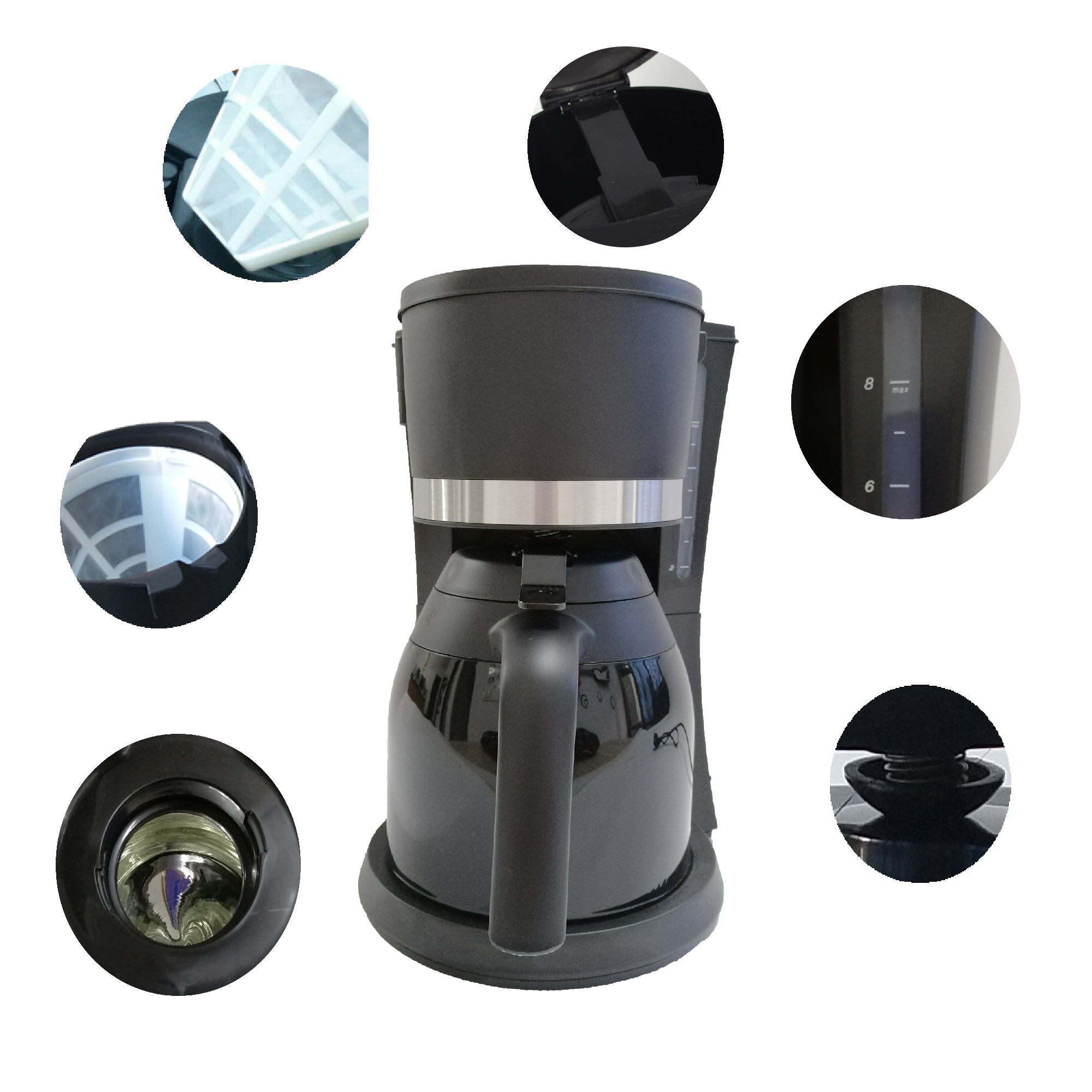 electric drip coffee maker with thermos jug