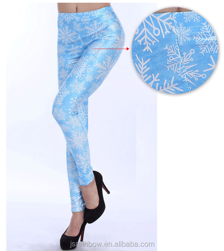 New arrival high quality OEM digital print snowflake christmas girls wearing yoga pants wholesale