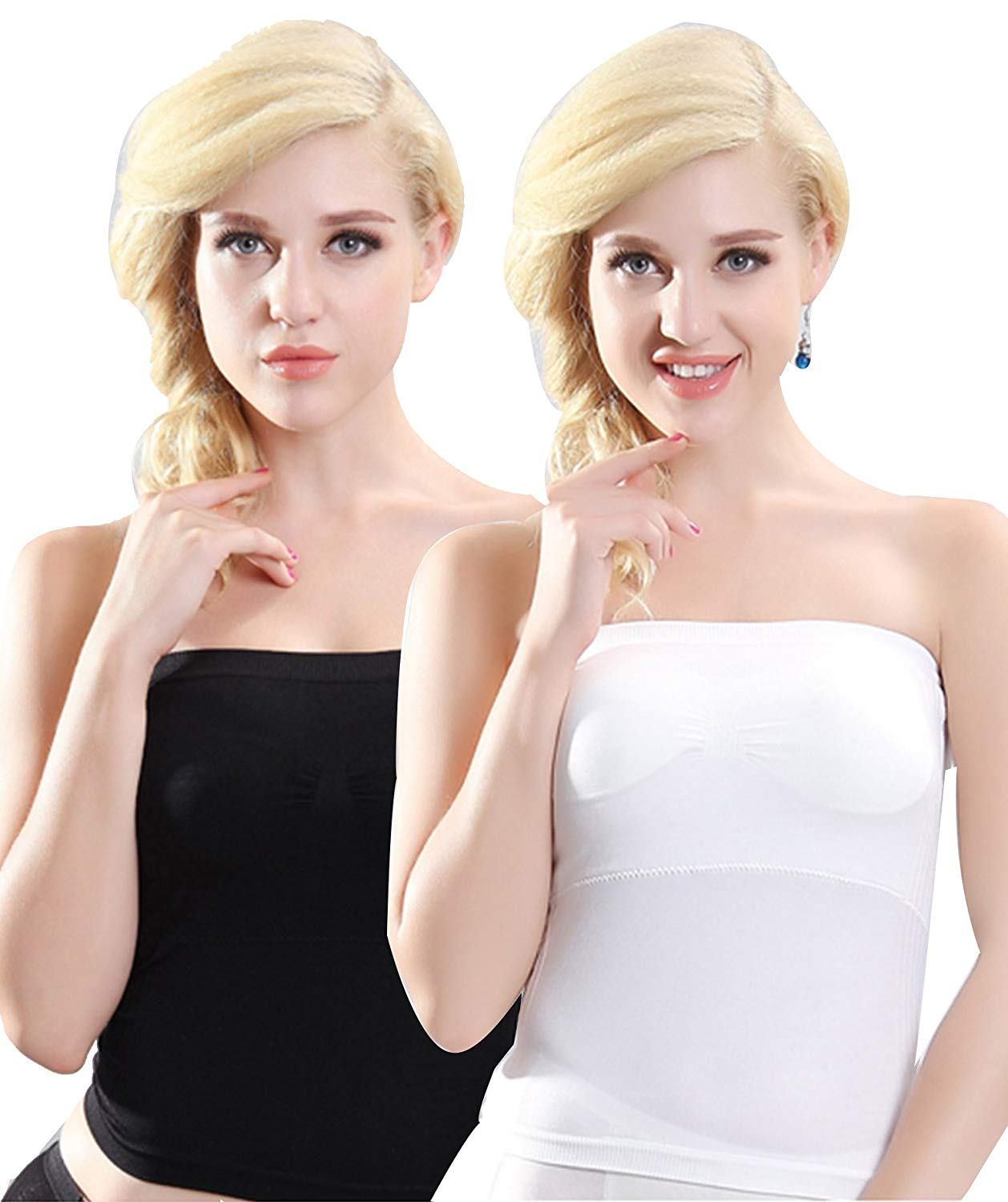 7e7595c0ea Get Quotations · Plumsika Women s Plain Strapless Long Tube Top Of 2 Packs
