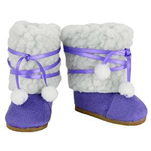 18 Inch Doll Boots, Purple Ewe Boots, Fits 18 Inch American Girl Dolls & More! 18 Inch Doll Shoes of Faux Suede & Sherpa Fur Purple Ewe Doll Boots W/Ties