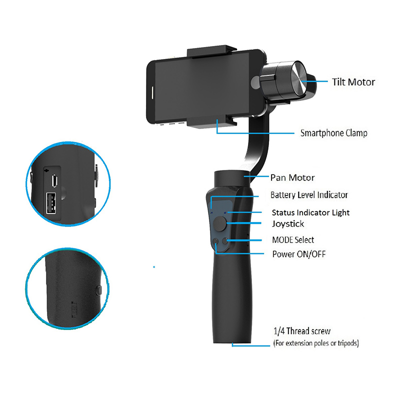 3 Axis Handheld Gimbal with Tripod Tray Stabilizer Selfie Stick for Smartphone