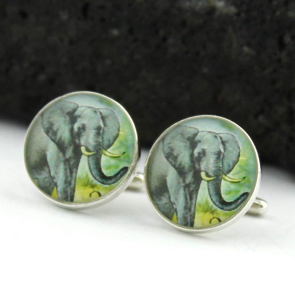 Elephant Cufflinks - West African Postage Stamp Sterling Silver Cufflinks (Cuff Links)