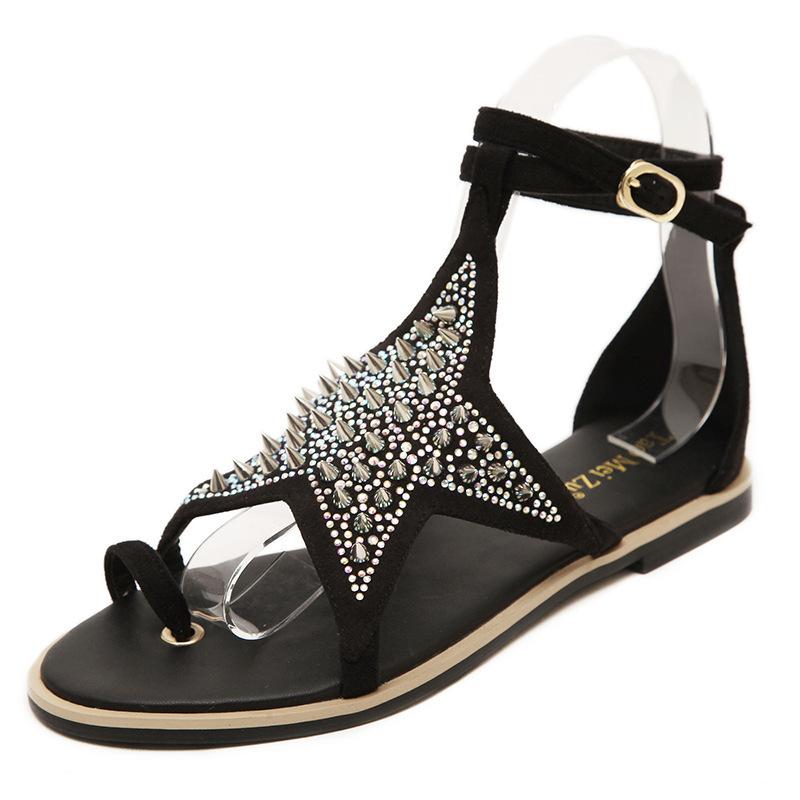 d1550245d56c Buy Rhinestones Pointed Pentagram Rivets Flat With Sandal 2015 Fashion  Ankle Strap Black Platform Sandals Novelty Women Flat Sandals in Cheap  Price on ...