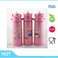 plastic new lid pink color double wall stainless steel baby feeding bottle