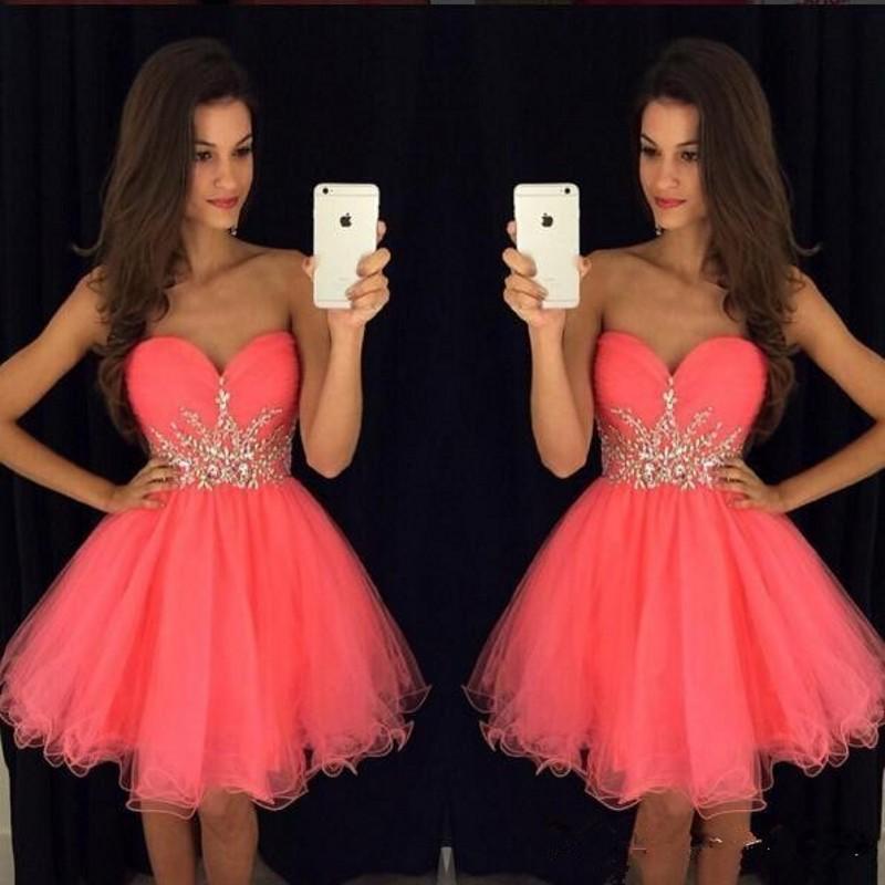 9b04adc03 Coral Vestidos De Cóctel Corto Bling Diamantes De Imitación Vestido De  Fiesta - Buy Vestido De Cóctel