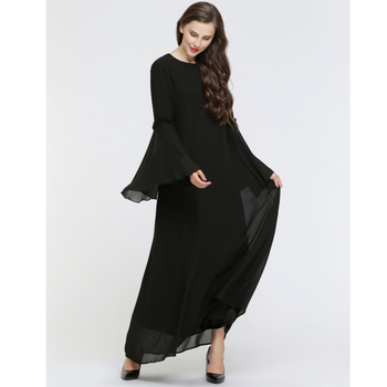 Muslim chiffon skirt long sleeve black dress in islam