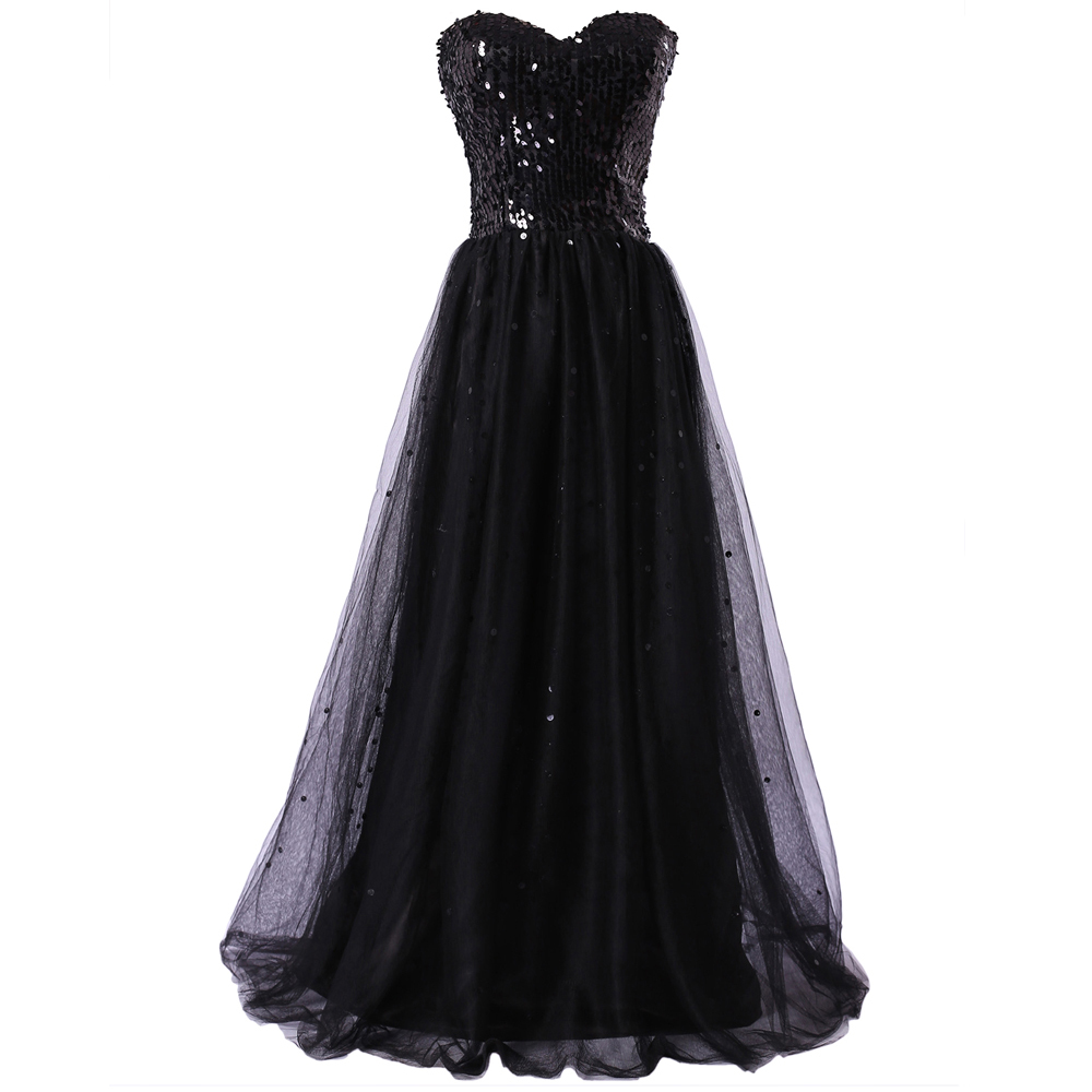 Grace Karin Elegant Prom Dresses Black Sequined Tulle Formal Dresses Vestidos De Festa Vestido Longo CL3459-02