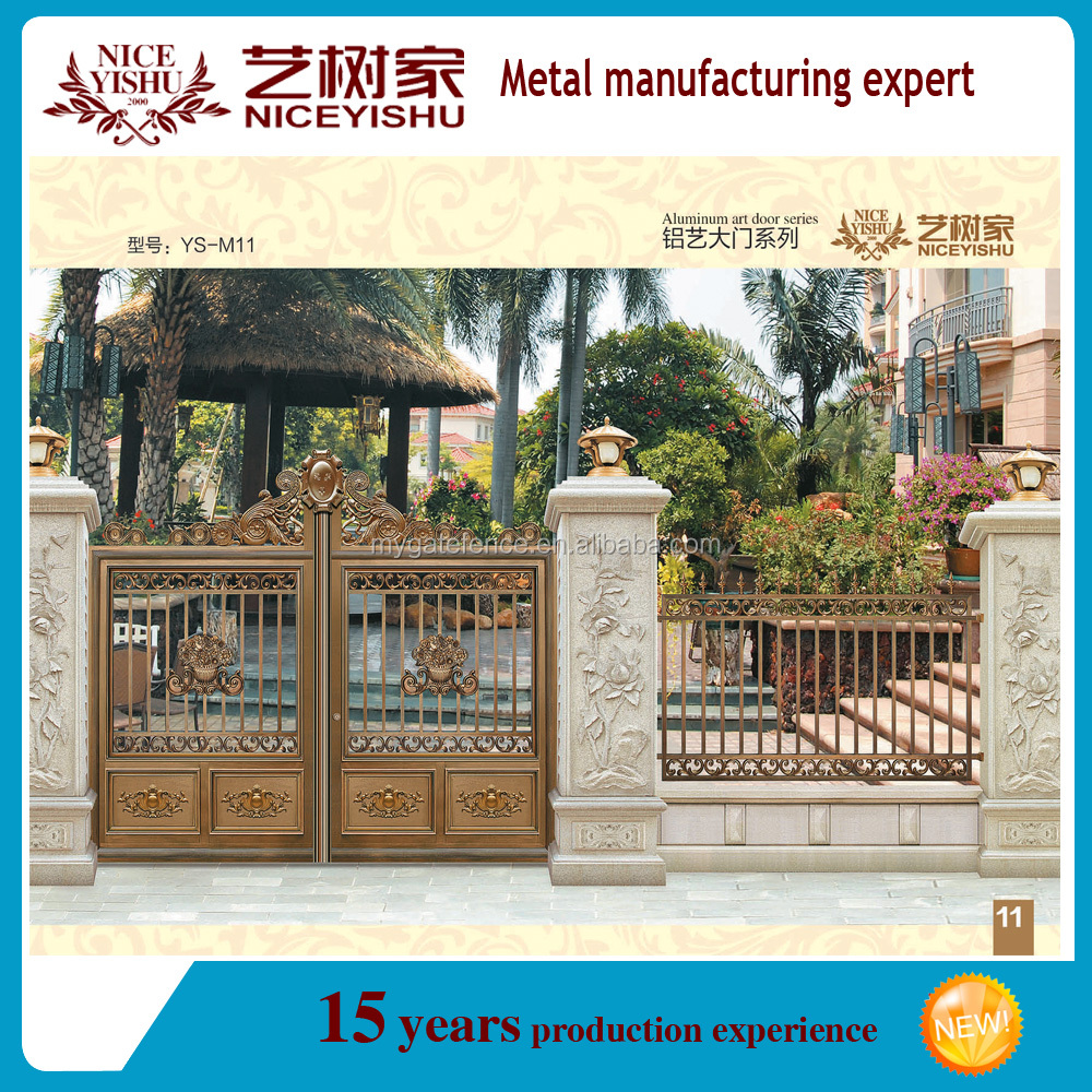 Yishujia Factory New Style Main Gate Design,Freedom Black Aluminium Fence  Gate,Metal Detector Gate Price - Buy New Style Main Gate Design,Latest Main