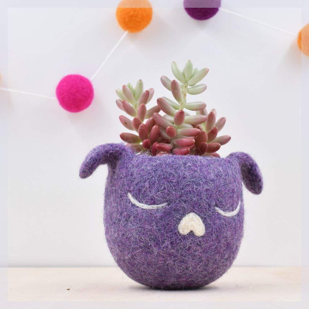 Dorm decor/Succulent planter/Dog lover gift for her/Cactus planter gifts/dog head planter/Small succulent pot/purple planter