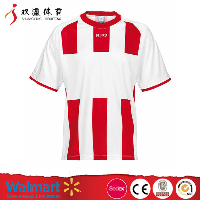 fashion red white soccer jersey,china soccer jersey manufacturer,round collar breathable anti-pilling soccer jersey