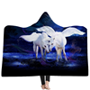 New arrival 150*200cm double layer Unicorn hooded throw blanket horse blanket wholesale
