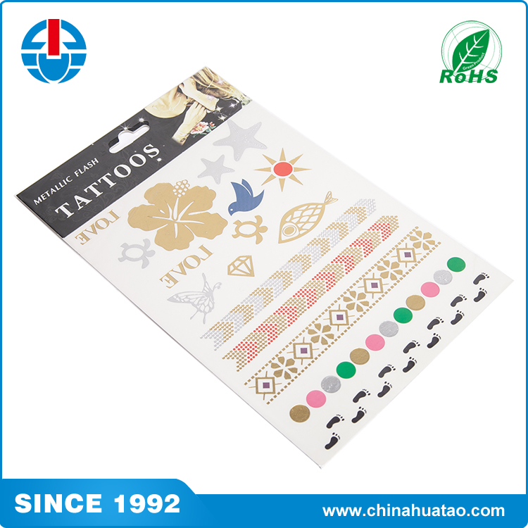 Fugang Paling Populer Kustom Multicolor Metallic Rambut Temporary Tattoo Sticker