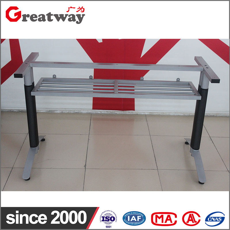 powder coating metal table frame with bookshelf for front office table