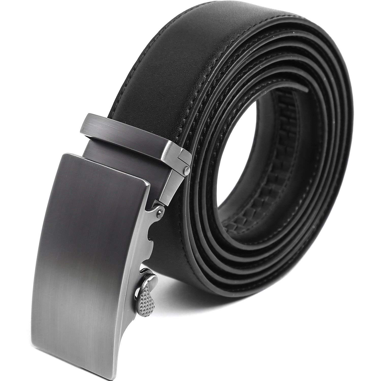 Denlix Men's Leather Ratchet Belts, Sliding Buckle Dress Belts, 35mm Wide with Gift Box
