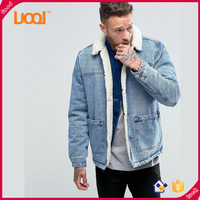 Guangzhou Luoqi Blue Colour With Fleece And Custom Men Jean Jacket
