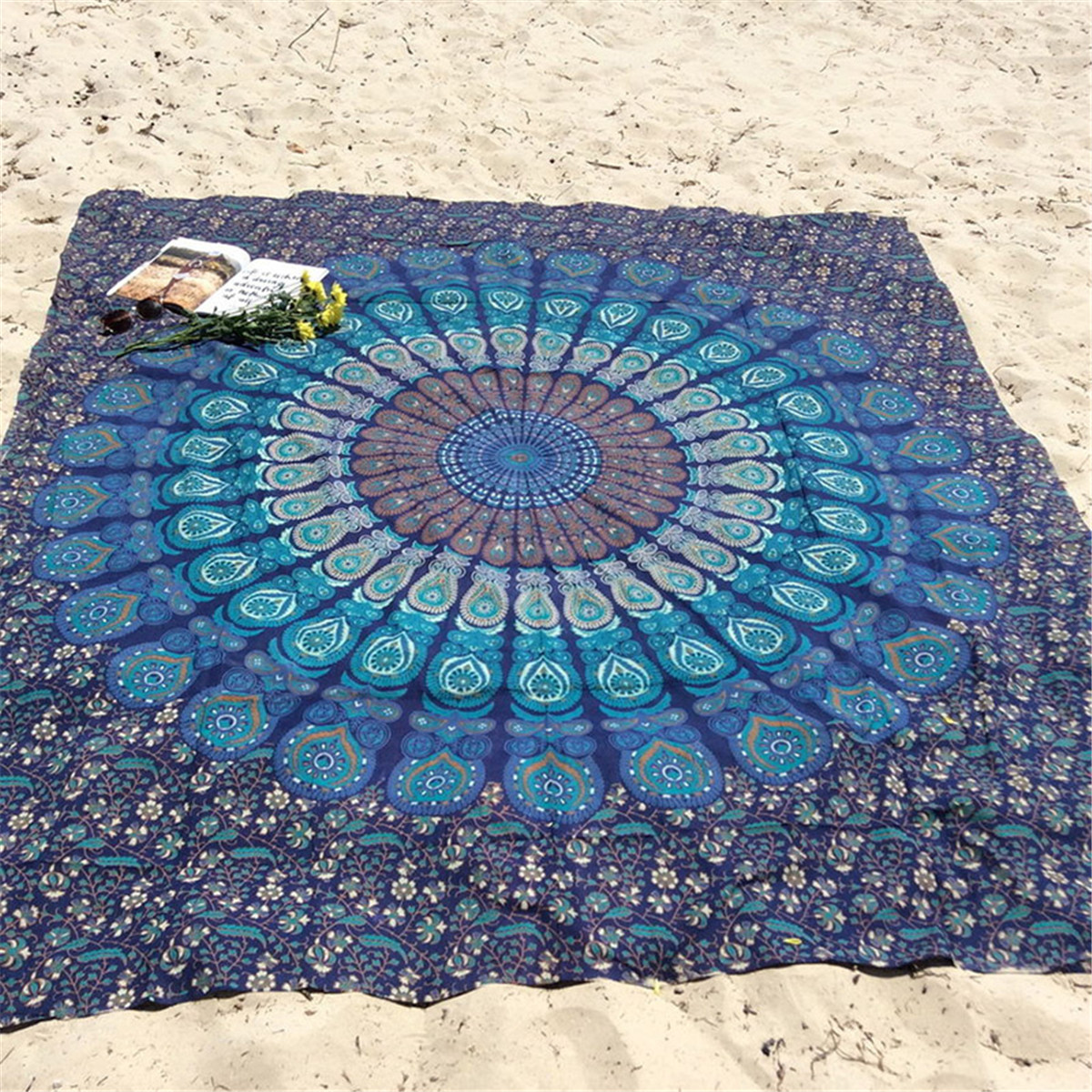 New Indian Mandala Peacock Printed Tapestry Wall Hanging Hippie Boho Table Cloth Beach Throw Towel Yoga Mat Home Decor 210*148cm